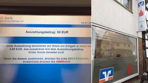 Die Bildkombination zeigt zwei Fotos: eines stellt die Außenansicht des Geldautomatenstandorts dar, das andere die Mitteilung über Gebühren, wenn Geld abgehoben wird.