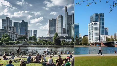 Frankfurt vor und nach Corona: Blick aufs Mainufer, einmal mit und einmal ohne Menschen