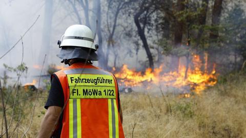 Ein Feuerwehrmann löscht die Flammen im Wald bei Mörfelden-Walldorf.