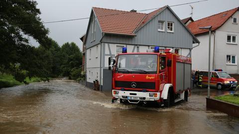 In Kirtorf trat der Gleenbach über die Ufer.