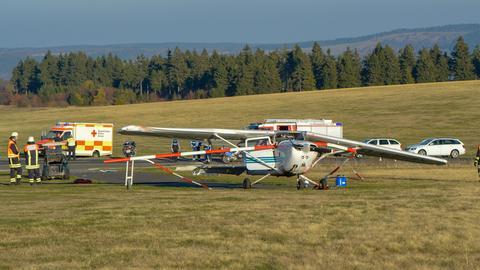 Das verunglückte Sportflugzeug auf der Wasserkuppe