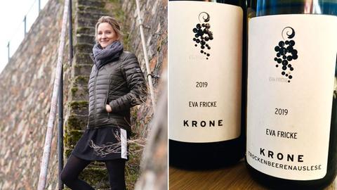 Eva Fricke im Wingert und 2 prämierte Flaschen Wein