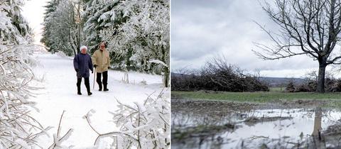 Collage: Winterwetter mit Schnee und verregnete Landschaft