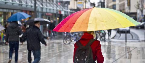 Regenwetter auf der Frankfurter Zeil