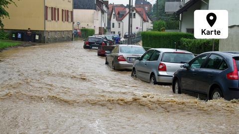 Sturzflut in Wiesbaden-Rambach