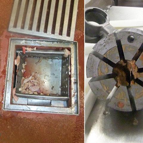 Drei Fotos zeigen vergammelte Wurstreste an Maschinen, im Abfluss und im Abfalleimer.