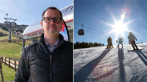 Collage-Jörg-Wilke vor Liftanlage und ein Liftbild mit Schnee