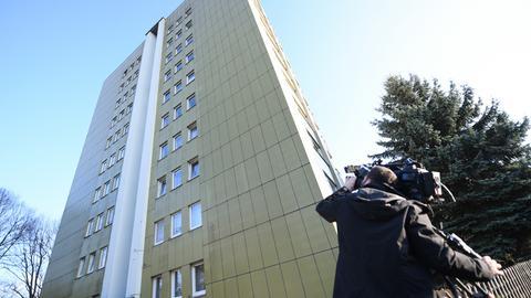 In diesem Offenbacher Hochhaus wurde der mutmaßliche Entführer überwältigt.