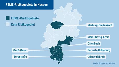 Das Robert-Koch-Institut weist in Hessen bestimmte FSME-Risikogebiete aus.