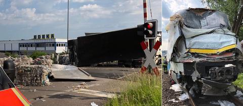Links der beschädigte Zug, rechts das Trümmerfeld nach dem Zusammenstoß zwischen der Bahn und einem Lkw bei Buseck.