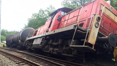 Entgleister Güterzug in Gießen