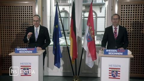 Innenminister Beuth (CDU) und Gesundheitsminister Klose (Grüne) läuten die nächste Impfphase ein. In Wiesbaden informieren sie, welche Personengruppen nun an der Reihe sind.