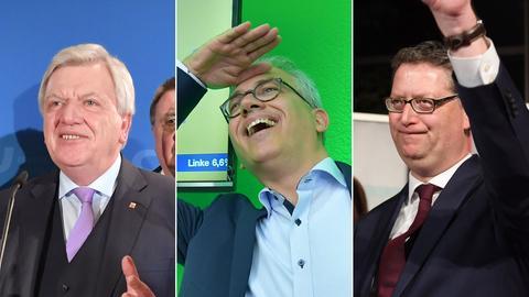 Die Bildcollage zeigt Bilder vom Wahlabend - die Spitzenkandidaten von CDU, Grüner und SPD