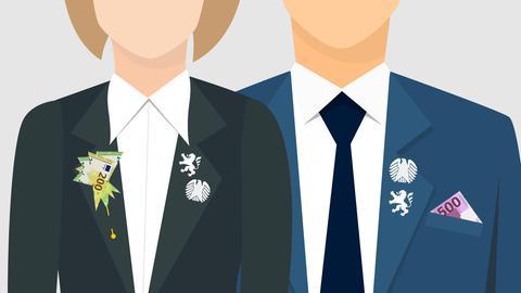 Grafik, welche die Oberkörper von einer Frau und einem Mann in Anzügen zeigt. In seiner Brusttasche steckt statt eines Tuches ein 500 Euro-Schein. An ihrem Revers steckt eine Anstecknadel mit einer Art Blüte aus Geldscheinen geformt. Beide tragen an ihrem Kragen Anstecknadeln mit den Zeichen von Hessen (Löwe) und dem Bundestag (Adler).