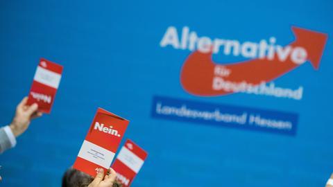 """AfD-Logo und Abstimmungskarte mit der Aufschrift """"Nein""""."""