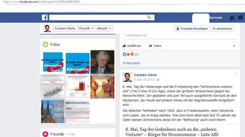 Screenshot eines rechten Facebook-Posts von Carsten Härle