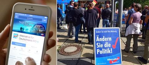 Screenshot des AfD-Posts und Bild eines AfD-Standes am Sonntag in Chemnitz.