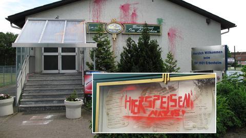 Die Gaststätte in Wiesbaden-Erbenheim nach der Farbbeutel- und Graffiti-Angriff.