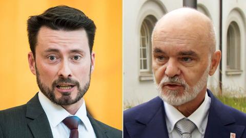 Zwei Portraits der AfD-Politiker Lichert (links) und Wissenbach