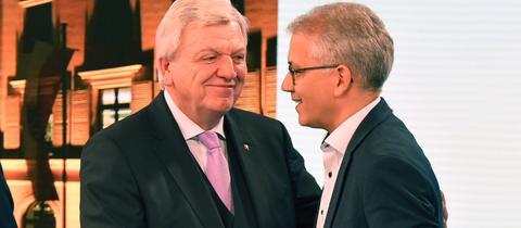 Ministerpräsident Bouffier und sein Stellvertreter Al-Wazir