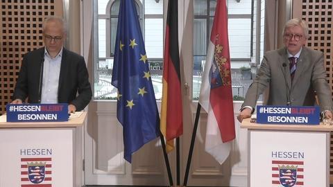 Ministerpräsident Bouffier (r.) und sein Vize Al-Wazir in der Staatskanzlei