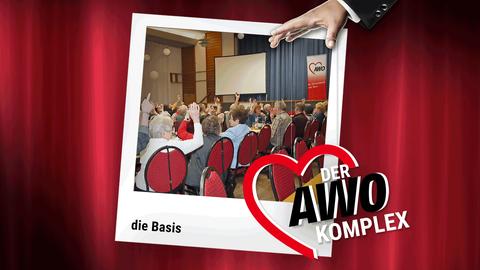 Im Mittelpunkt der Grafik ist ein Polaroid mit einem Foto der AWO-Mitgliederversammlung. Davor hält eine Hand Fäden, die zum AWO-Logo führen.