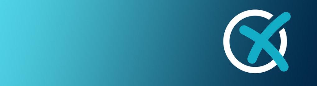 Farbfläche mit Verlauf von türkisgrün nach dunkelblau und einem Wahlkreuz.