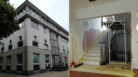 Behördenzentrum in Fulda, abgeklopfer Putz