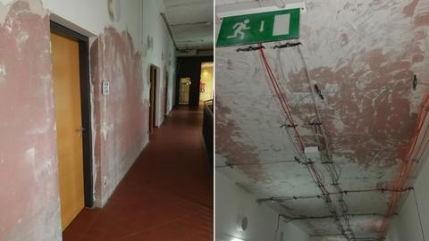 Im Behördenzentrum Fulda ist der Putz von Wänden und Decken geschlagen worden, damit er nicht versehentlich bröckelt.