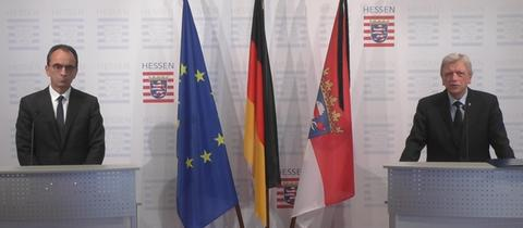 Ministerpräsident Volker Bouffier (rechts) hat Michael Boddenberg (beide CDU) zum neuen Finanzminister des Landes ernannt.