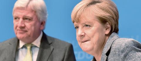 Bouffier und Merkel bei Zukunftskonferenz