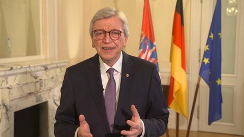 Ministerpräsident Volker Bouffier hält seine Neujahrsansprache im Jahr 2020