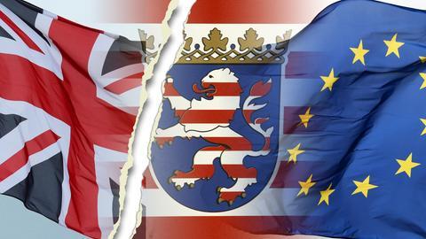 Ein Riss trennt die britische Flagge vom hessischen Wappen und der Europafahne