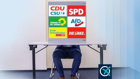 Ein Mensch sitzt hinter einer Wahlkabine, die mit den Logos der Parteien CDU, SPD, Grüne, FDP, Linke und AfD beklebt ist.