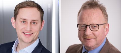 Die neuen Bürgermeister Bach (Feldatal) und Schäfer (Lautertal).