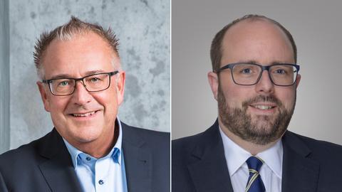 Die Bürgermeister von Ludwigsau, Wilfried Hagemann (l.), und Bad Salzschlirf, Matthias Christian Kübel (beide unabhängig)