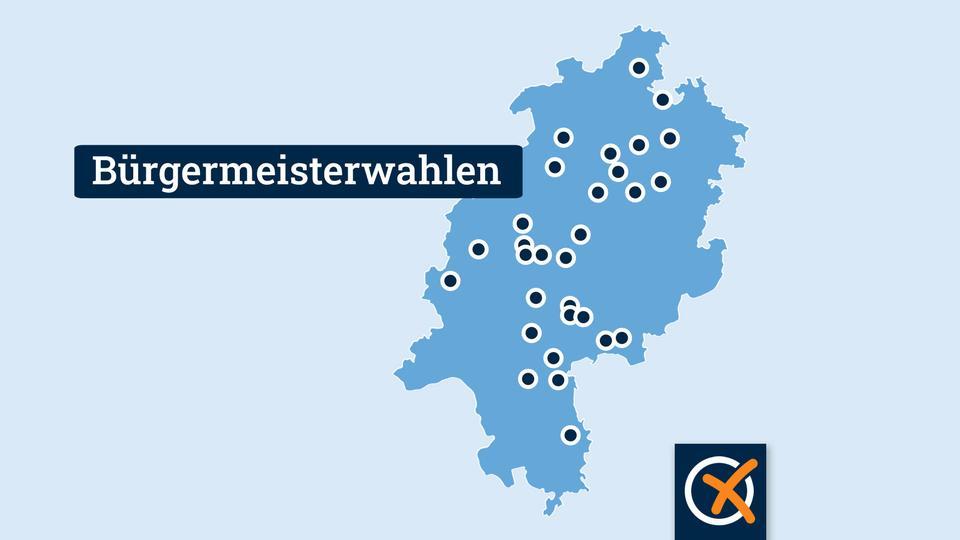 Eine Hessen-Karte zeigt, in welchen Gemeinden und Städten am 26. September Bürgermeister gewählt  werden.