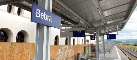 Bahnsteig am Bahnhof Bebra