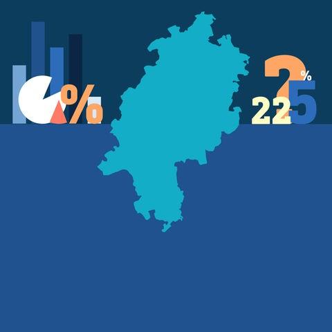 """Grafik, die in der Mitte die Fläche des Bundeslandes Hessen zeigt und rechts und links daneben Symbole wie Diagramme, Prozentzeichen und Ziffern wie """"5"""" und """"22"""" wie Stilleben arrangiert darstellt."""
