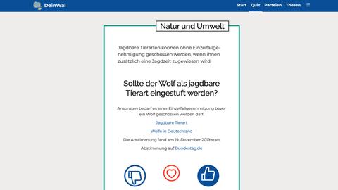 Ein Screenshot von DeinWal.de - hier mit der Frage, ob Wölfe zum Abschuss freigeben werden sollten.