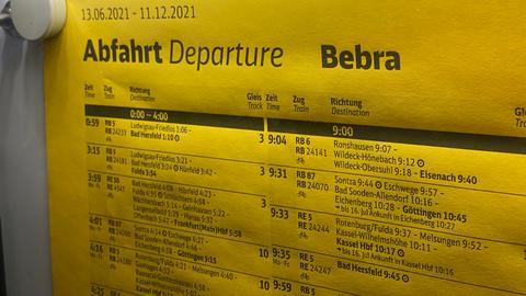 Fahrplan am Bahnhof Bebra