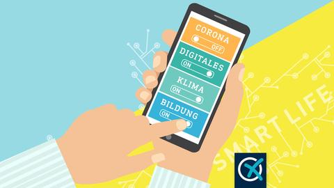 """Grafik, die ein Smartphone in einer Hand zeigt. Auf dem Screen sind vier Felder zu sehen: """"Corona"""", das auf """"off"""" gestellt wurde und die Felder """"Klima"""", """"Digitales"""" und """"Bildung"""", die auf """"on"""" gestellt wurden. Im Hintergrund liegt eine gelbe Fläche, die diagonal rechts nach oben ansteigt vor einem hellblauen Hintergrund."""