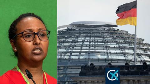 Collage mit Awet Tesfaiesus und daneben der Reichstag in Berlin