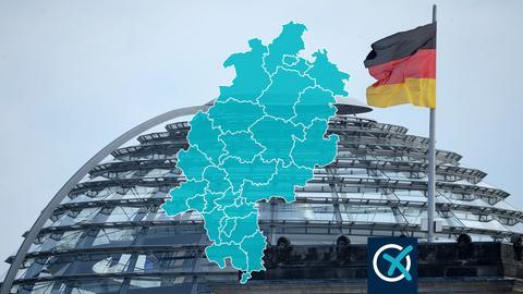Reichstag mit Flagge und Hessenkarte