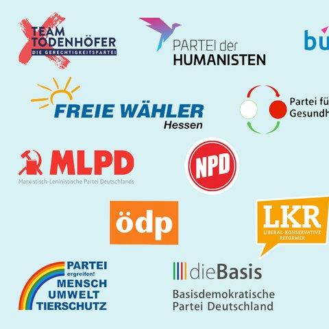 Collage mit allen Logos der kleinen Parteien
