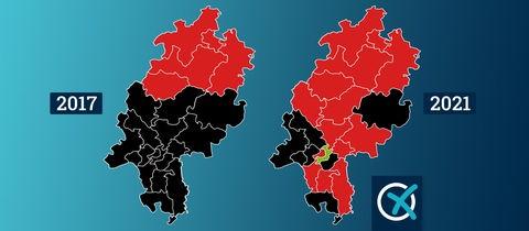 Zwei Karten mit den Wahlkreisen von 2017 und 2021 nebeneinander.