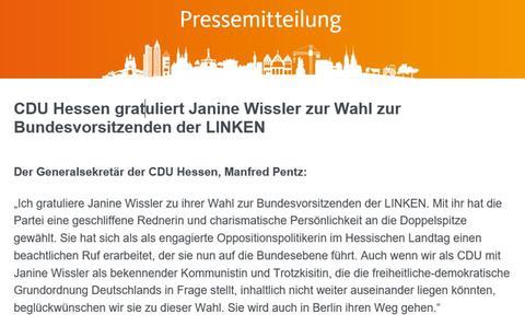 Ein Screenshot der Pressemitteilung mit den Glückwunschen der CDU an Janine Wissler.