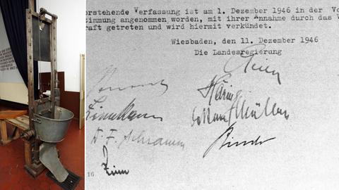 Bildcollage: Guillotine (links), hessische Verfassung (rechts)