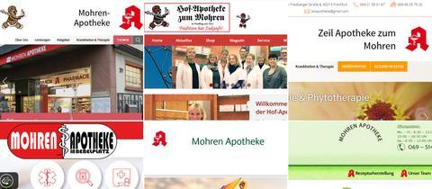 """Firmenlogos mit dem Namen """"Mohren-Apotheke""""."""