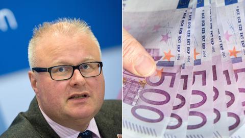 Collage: Finanzminister Thomas Schäfer (li.), 500-Euro-Scheine (re.)